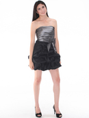 D8157 Two-tone Taffeta Cocktail Dress, Black Silver
