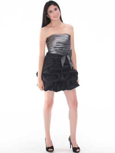 D8157 Two-tone Taffeta Cocktail Dress - Black Silver, Front View Medium