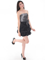D8157 Two-tone Taffeta Cocktail Dress - Black Silver, Alt View Thumbnail