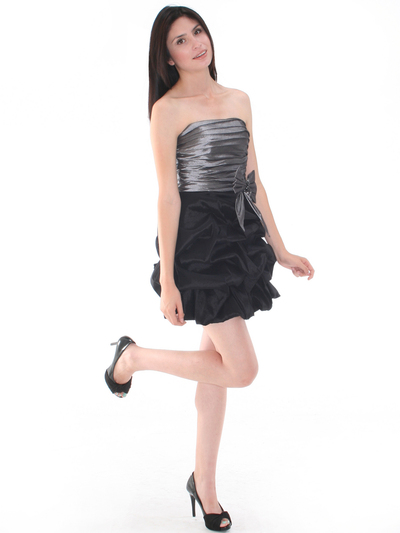 D8157 Two-tone Taffeta Cocktail Dress - Black Silver, Alt View Medium
