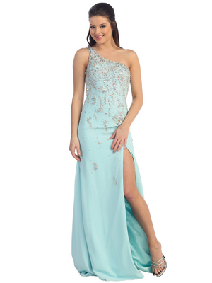D8269 One Shoulder Beaded Evening Dress, Aqua