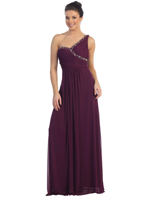D8324 Beaded Trim One Shoulder  Evening Dress, Plum