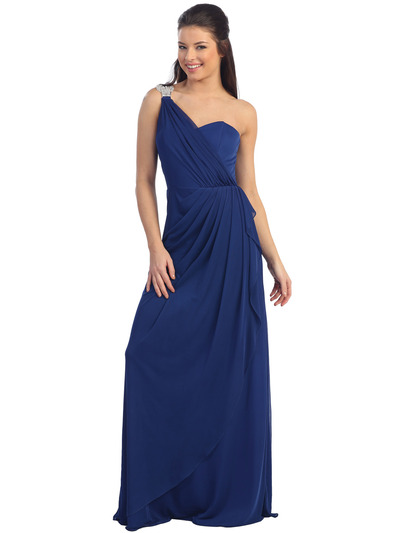 This elegant evening dress features a jeweled shoulder soft draping