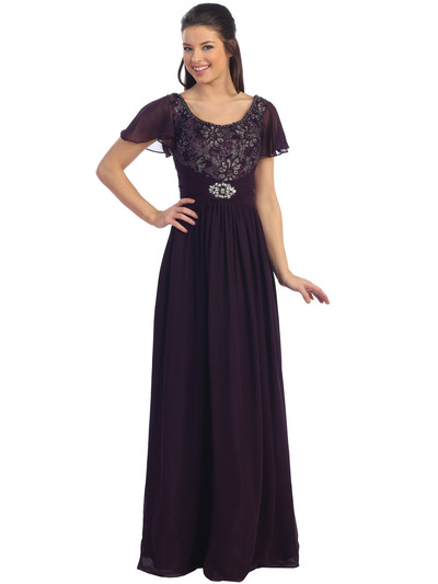 D8354 Floral Lace Chiffon Evening Dress - Eggplant, Front View Medium