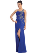 Beaded One Shoulder Evening Dress