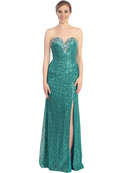 Strapless Sequin Evening Dress with Slit