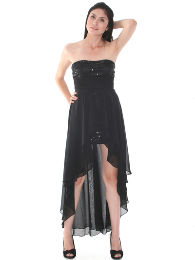 D8402 Strapless Sequin High-low Cocktail Dress - Black, Front View Medium