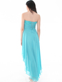 D8402 Strapless Sequin High-low Cocktail Dress - Light Teal, Back View Thumbnail