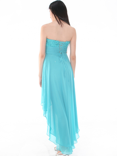 D8402 Strapless Sequin High-low Cocktail Dress - Light Teal, Back View Medium