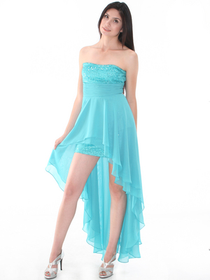 D8402 Strapless Sequin High-low Cocktail Dress, Light Teal