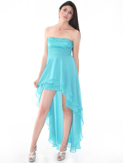 D8402 Strapless Sequin High-low Cocktail Dress - Light Teal, Alt View Medium