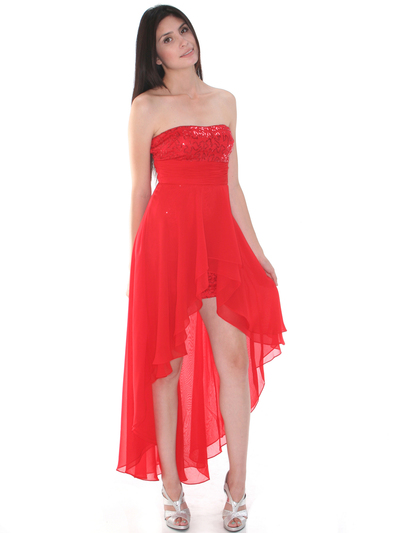 D8402 Strapless Sequin High-low Cocktail Dress - Red, Front View Medium