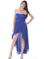 D8402 Strapless Sequin High-low Cocktail Dress - Royal Blue, Front View Thumbnail