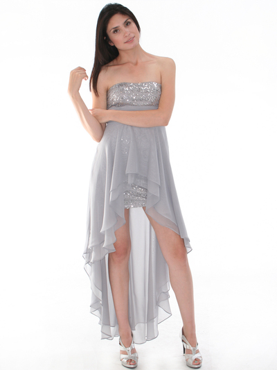 D8402 Strapless Sequin High-low Cocktail Dress - Silver, Front View Medium