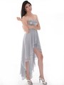 D8402 Strapless Sequin High-low Cocktail Dress - Silver, Alt View Thumbnail