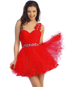 Rosette Shoulder Short Homecoming Dress
