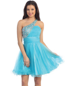 Jeweled One Shoulder Homecoming Dress