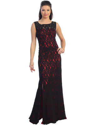 D8481 Lace Overlay Evening Dress, Black Red
