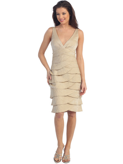 D8496 Tier A-line Cocktail Dress - Gold, Front View Medium