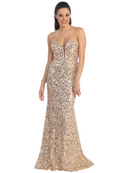 Strapless Sweetheart Sequin Prom Dress