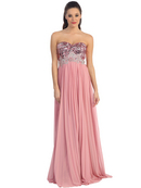 Strapless Sequin Pleated Long Prom Dress