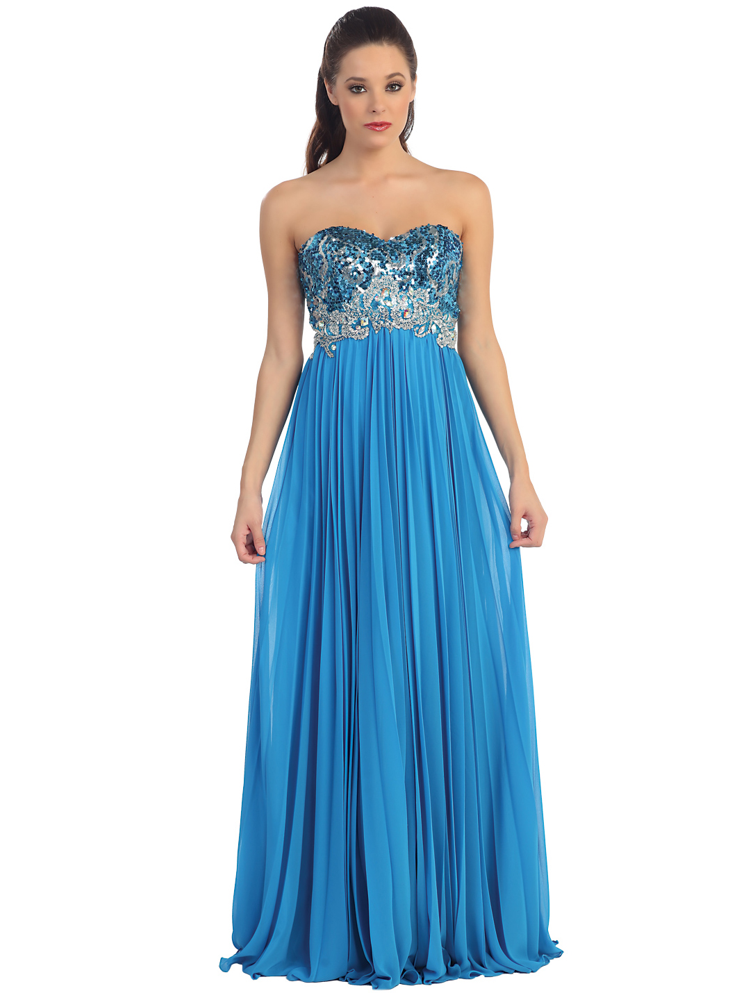 Strapless Sequin Pleated Long Prom Dress | Sung Boutique L.A.