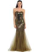 Strapless Sweetheart Sequins Mesh-Overlay Prom Dress