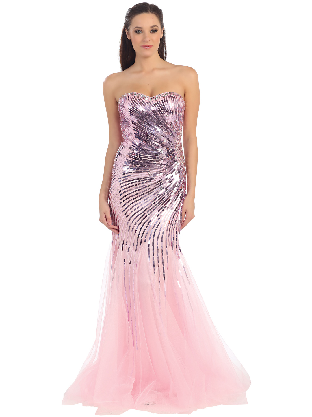 Strapless Sweetheart Sequins Mesh-Overlay Prom Dress | Sung ...