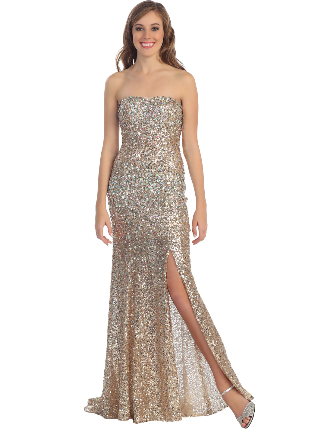 Fashion style Strapless gold sequin prom dress for girls