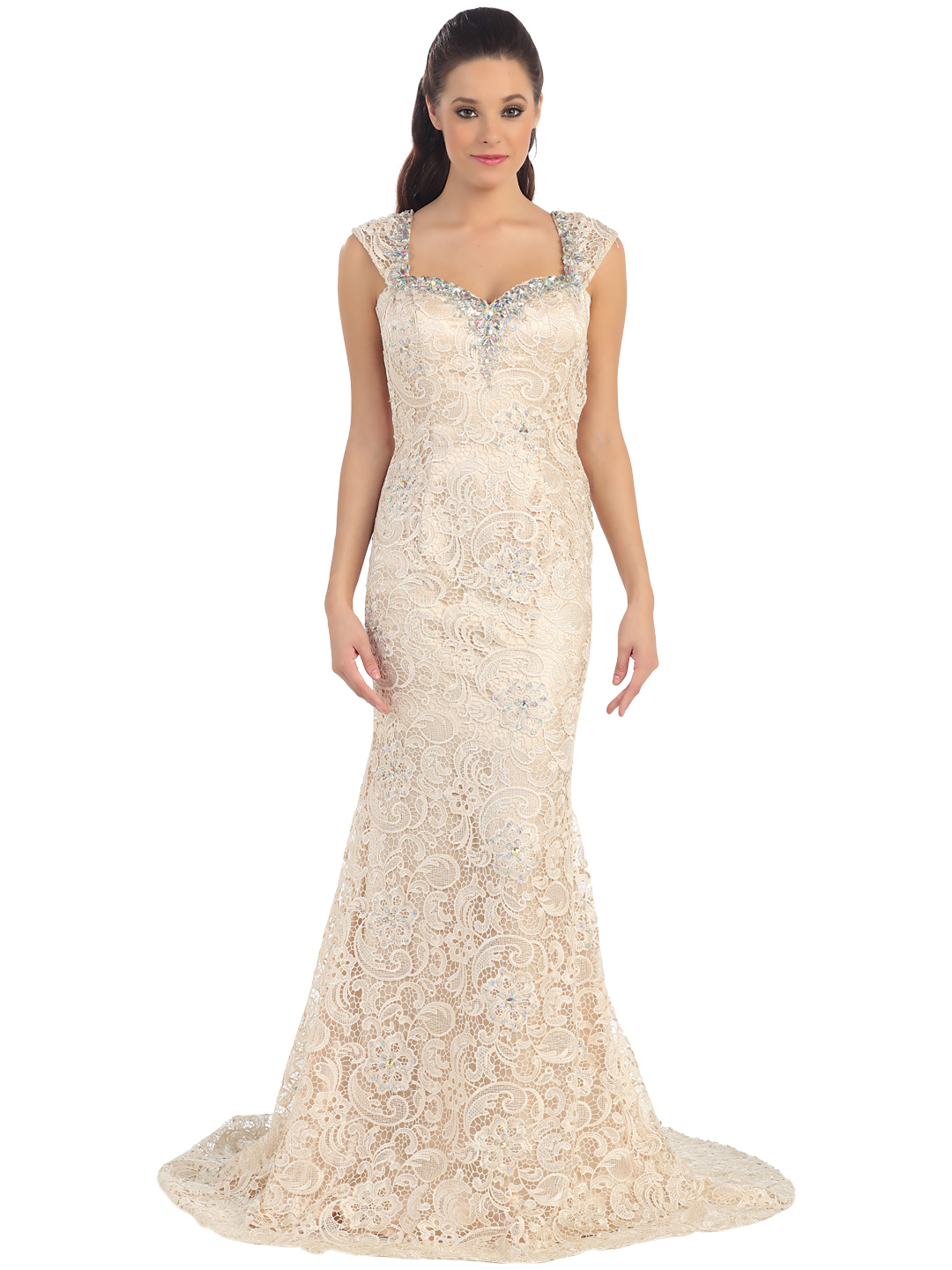 Beige lace evening dress
