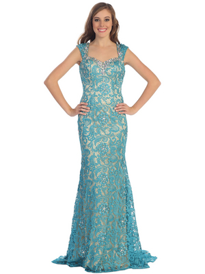 D8664 Wide Strap Lace Evening Dress, Teal Nude