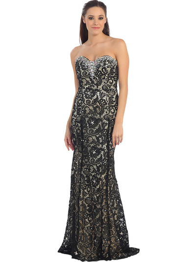 Fit and flare evening prom dress black nude front view medium