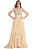 Jeweled Illusion Yoke Long Prom Dress
