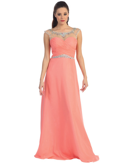 D8688 Illusion Yoke Evening Dress  - Coral, Front View Medium