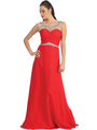D8688 Illusion Yoke Evening Dress  - Red, Front View Thumbnail