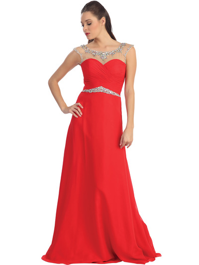 D8688 Illusion Yoke Evening Dress  - Red, Front View Medium
