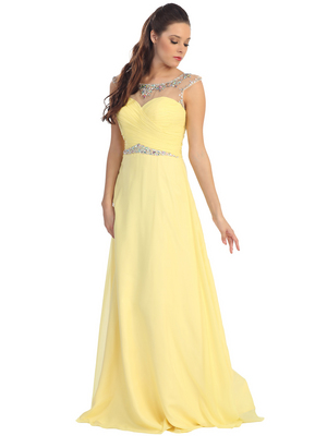D8688 Illusion Yoke Evening Dress , Yellow