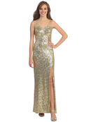 Embellished Shoulder Sequins Gown