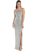 Illusion Yoke Sequin Bodice Evening Dress with Slit