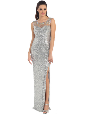 D8698 Illusion Yoke Sequin Bodice Evening Dress with Slit , Silver