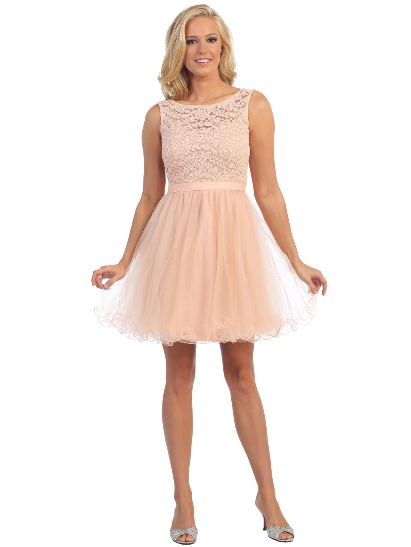 lace top cocktail dress with satin sash sung boutique la