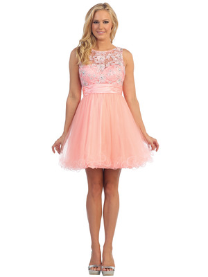 D8798 Lace and Sparkling Top Cocktail Dress, Neon Peach