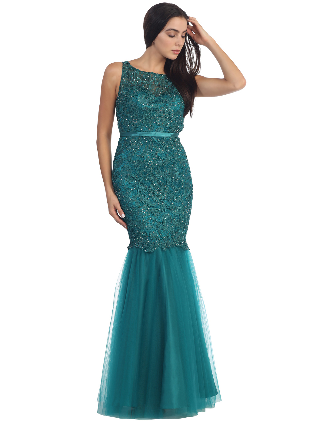 Lace Overlay Sleeveless Prom Dress | Sung Boutique L.A.