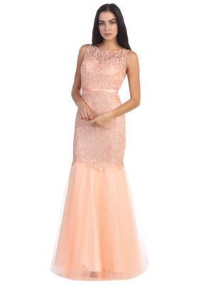 D8851 Lace Overlay Sleeveless Prom Dress, Peach