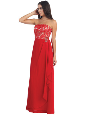 D8921 Lace Overlay Faux Wrap Evening Dress, Red