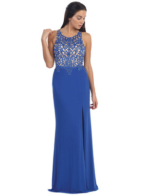 D8925 Illusion Yoke Mesh Evening Dress, Royal Blue