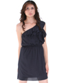 DN8080 One Shoulder Ruffle Cocktail Dress - Black, Front View Thumbnail