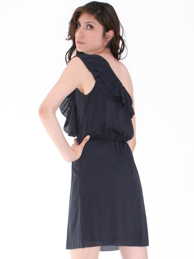 DN8080 One Shoulder Ruffle Cocktail Dress - Black, Back View Medium