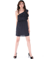 DN8080 Black One Shoulder Ruffle Cocktail Dress - Alt. Image
