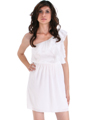 DN8080 One Shoulder Ruffle Cocktail Dress - Ivory, Front View Thumbnail